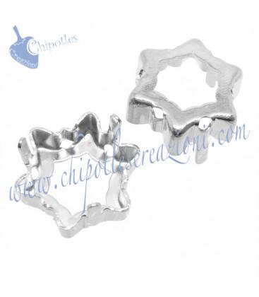 Castone con 6 Fori per Swarovski® Edelweiss 4753 14 mm Fondo Aperto colore Rodio