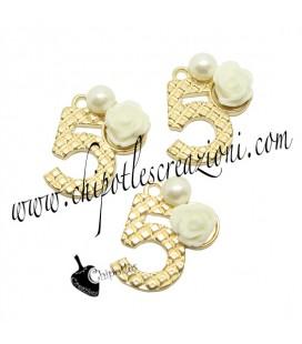Ciondolo N° 5 - Numero Cinque Oro 15x19 mm con Rosa e Perla