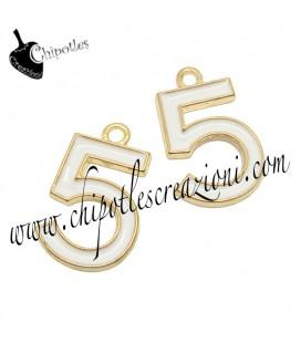 Ciondolo N° 5 - Numero Cinque Smaltato 14x22 mm Bianco