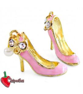 Ciondolo Scarpa con Strass e perlina 24x20 colore Rosa