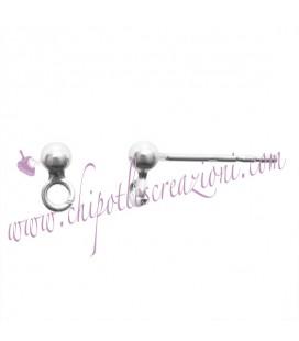 Perni per Orecchini a Pallina 3 mm con Anellino Argento 925 (1 paio)