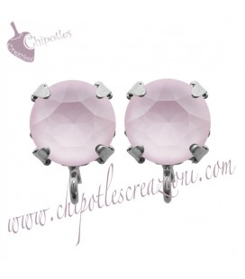 Base Orecchini a Perno con Swarovski Crystal Powder Rose SS39