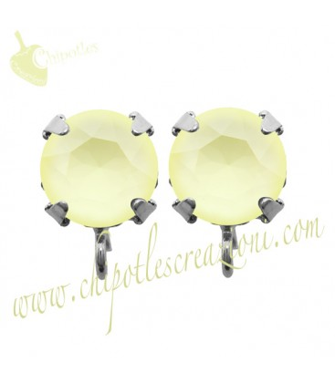 Base Orecchini a Perno con Swarovski Crystal Powder Yellow SS39
