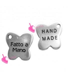 Ciondolo Farfalla Fatto a Mano Handmade 12x12 mm color Argento Antico