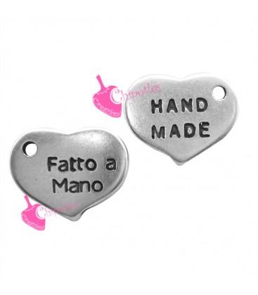 Ciondolo Cuore Fatto a Mano Handmade 13x10 mm color Argento Antico
