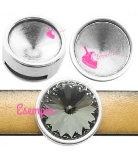 Perla Tonda Foro Piatto (Ø 10 mm) con Castone per Rivoli 12 mm color Argento Antico