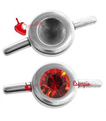Chiusura a Spinetta 22x10 mm con Castone per Chaton 5-6 mm colore Argento Antico