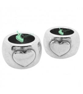 Distanziatore Perla con Cuore 15x10 mm (Ø 10 mm) color Argento Antico
