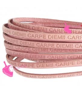 Cordoncino Pelle 5 mm con scritta Carpe Diem colore Rosa (50 cm)