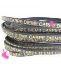 Cordoncino Pelle 5 mm con scritta Carpe Diem Oro colore Grigio