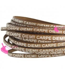 Cordoncino Pelle 5 mm con scritta Carpe Diem Marrone (50 cm)