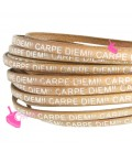 Cordoncino Pelle 5 mm con scritta Carpe Diem color Cuoio (50 cm)