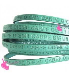 Cordoncino Pelle 5 mm con scritta Carpe Diem Verde Turchese (50 cm)