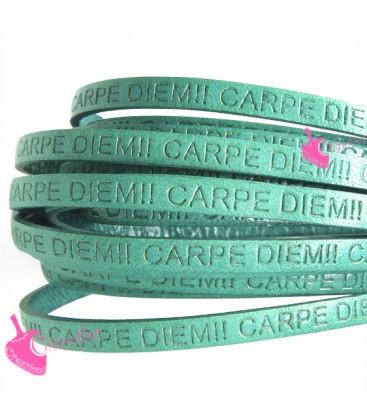 Cordoncino Pelle 5 mm con scritta Carpe Diem Verde Turchese