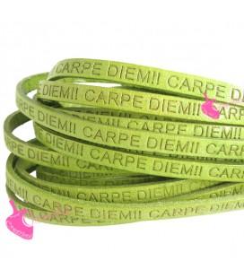 Cordoncino Pelle 5 mm con scritta Carpe Diem Verde Chiaro (50 cm)