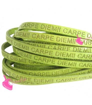 Cordoncino Pelle 5 mm con scritta Carpe Diem Verde Chiaro