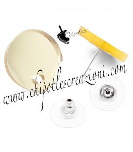 Base Orecchini a Perno con Retro Plexiglass Specchiato Oro