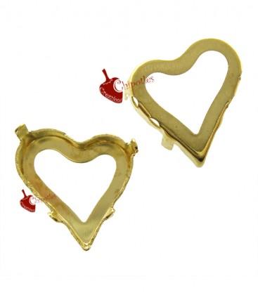 Castone con 4 Fori per Cuore Swarovski® 4810 13x12 mm Fondo Aperto colore Oro