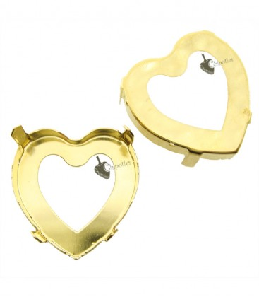 Castone con 4 Fori per Cuore Swarovski® 4827 28 mm Fondo Aperto colore Oro
