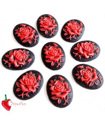 Cammeo Nero con Rosa Rossa 25x19 mm