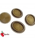 Ciondolo Base Cabochon Cammeo 34x28 mm, 25,5x18,5 color Bronzo Antico