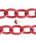 Catena Zigrinata Nido d'Ape Lavorata 20x15x3 mm Alluminio colore Rosso