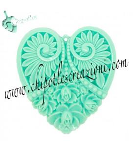 Ciondolo Cuore Resina Intagliato 50x45 mm colore Verde Menta