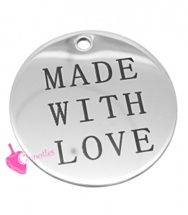 "Ciondolo Medaglia ""Made With Love"" 30 mm Acciaio Inossidabile"