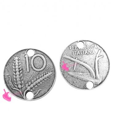 Ciondolo Moneta da 10 Lire 22 mm color Argento Antico