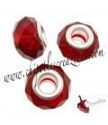 Perla Rondella Foro Largo 14x9 mm Mezzo Cristallo colore Rosso