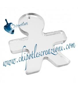 Ciondolo Bimbo 40x34 mm Plexiglass Specchiato Argento
