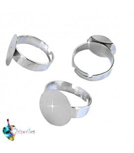 Base Anello Piatta (piastra 15 mm) colore Argento Scuro