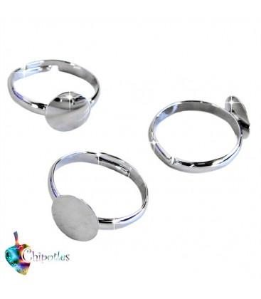 Base Anello Piatta (piastra 10 mm) colore Argento Scuro