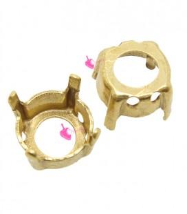 Castone con 4 Fori 8 mm per Chaton SS39 Fondo Aperto color Oro