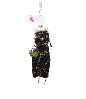 Collana Bambola Bambolina con Vestito Nero Lungo