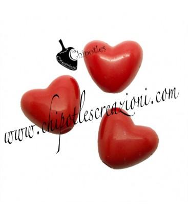 Perla Cuore Rosso 11x10 mm Acrilico
