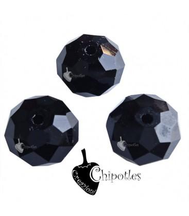 Perle Rondelle Mezzo Cristallo 12 mm Nere