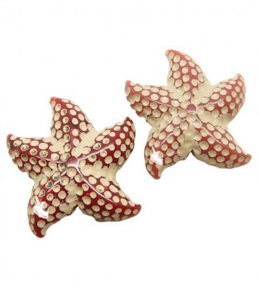 Perle Stella Marina Resina 24x23 mm colore Sabbia e Rosso