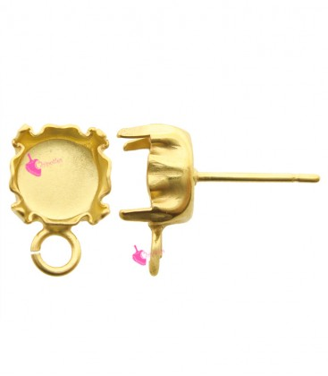 Perni per Orecchini con Castone 8 mm per Chaton SS39 Anello Piatto colore Oro