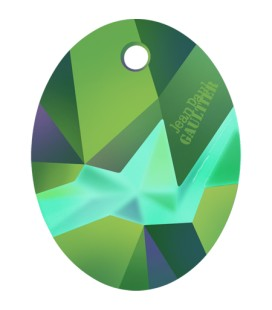 Ciondolo Kaputt Oval Swarovski® 6910 26 mm Crystal Scarabeus Green