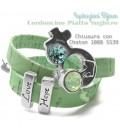 Bracciale Cordoncino Sughero Verde Menta con Chaton (Esempio Bijoux)