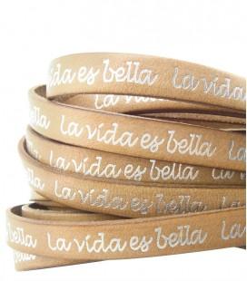 Cordoncino Pelle 10 mm con scritta La vida es bella color Cuoio