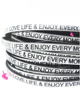Cordoncino Pelle 5 mm con scritta LOVE LIFE & ENJOY EVERY MOMENT colore Argento Metal (50 cm)