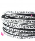 Cordoncino Pelle 5 mm con scritta LOVE LIFE & ENJOY EVERY MOMENT colore Argento