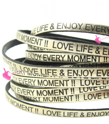 Cordoncino Pelle 5 mm con scritta LOVE LIFE & ENJOY EVERY MOMENT colore Oro Metal