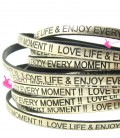 Cordoncino Pelle 5 mm con scritta LOVE LIFE & ENJOY EVERY MOMENT colore Oro Metal (50 cm)