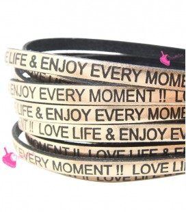 Cordoncino Pelle 5 mm con scritta LOVE LIFE & ENJOY EVERY MOMENT colore Oro Rosa Metal