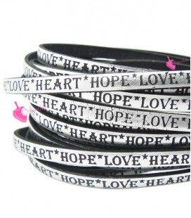 Cordoncino Pelle 5 mm con scritta LOVE HEART HOPE colore Argento Metal
