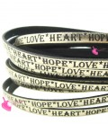 Cordoncino Pelle 5 mm con scritta LOVE HEART HOPE colore Oro Metal