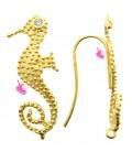 Monachelle per Orecchini con Cavalluccio Marino 3 cm Argento 925 colore Oro
